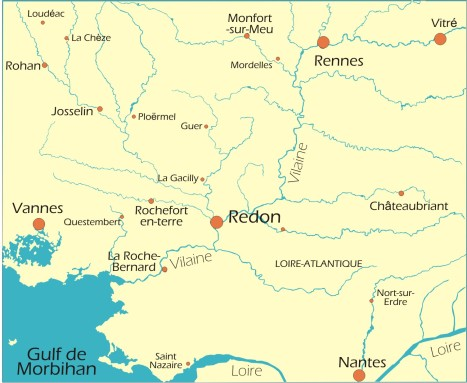 Map of Redon and Region