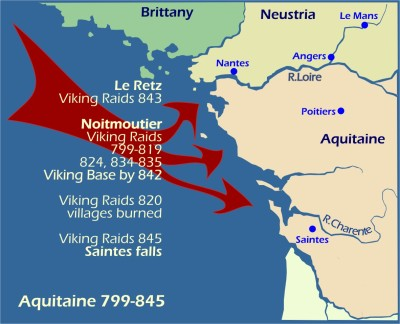 Map: Viking Raids on Aquitaine 799-845