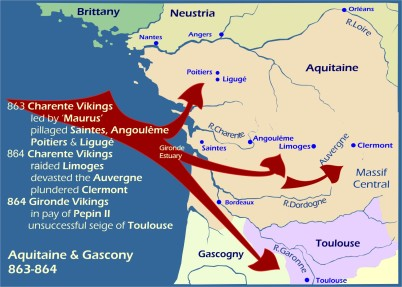 Map: Viking raids Aquitaine and Gascony 863-864