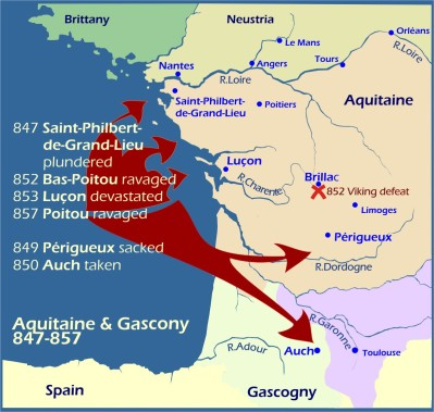 Map: Viking raids Aquitaine Gascony 847-857