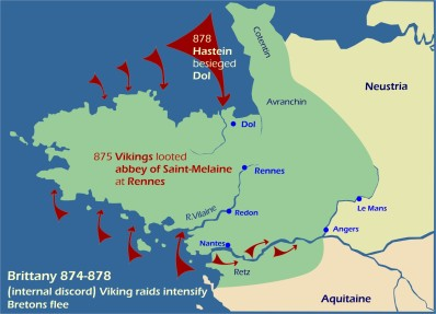 Map: Viking raids Brittany 874-878