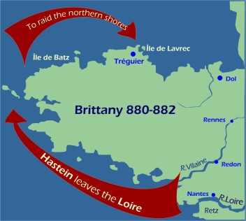 Maps: Viking raids Brittany 880-882