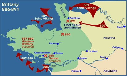 Map: Viking raids Brittany 886-891