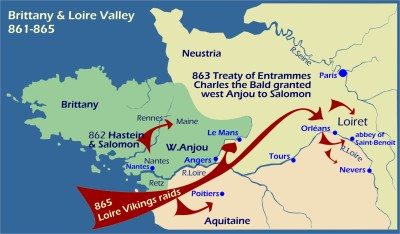Map: Viking raids Brittany and Loire 861-865