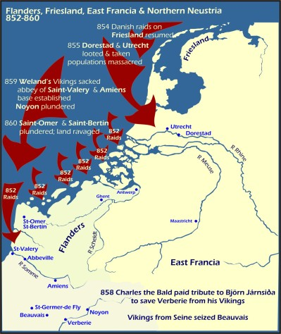 Map: Viking raids Flander, Friesland, Northern Neustra 852-860