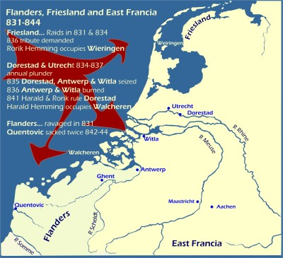 Map: Viking raids on Flanders Frisia East Francia 831-844