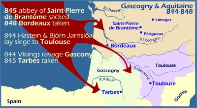 Map: Viking raids in Gascony Aquitaine 844-848
