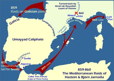 Map: Viking raids Mediterranean 859-860