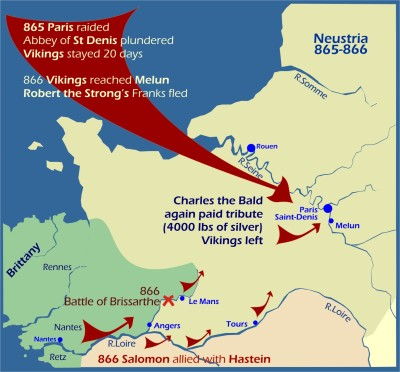 Map: Viking raids Neustria 865-866
