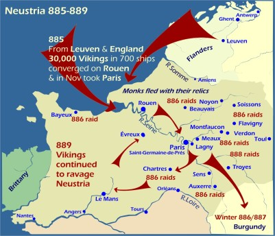 Map: Viking raids Neustria 885-889