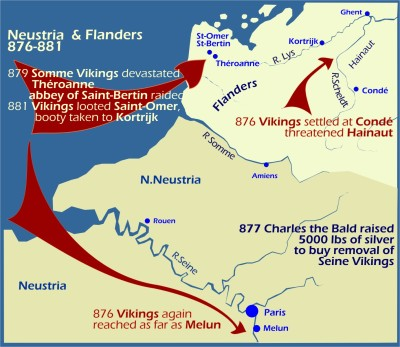 Maps: Viking raids Neustria and Flanders 876-881