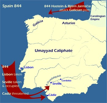 Map: Viking Raids on Spain 844