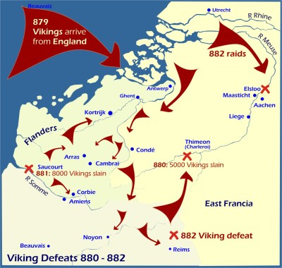 Map: Viking Defeats 880-882