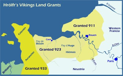 Map: Hrolfr's Vikings Land Grants to 933
